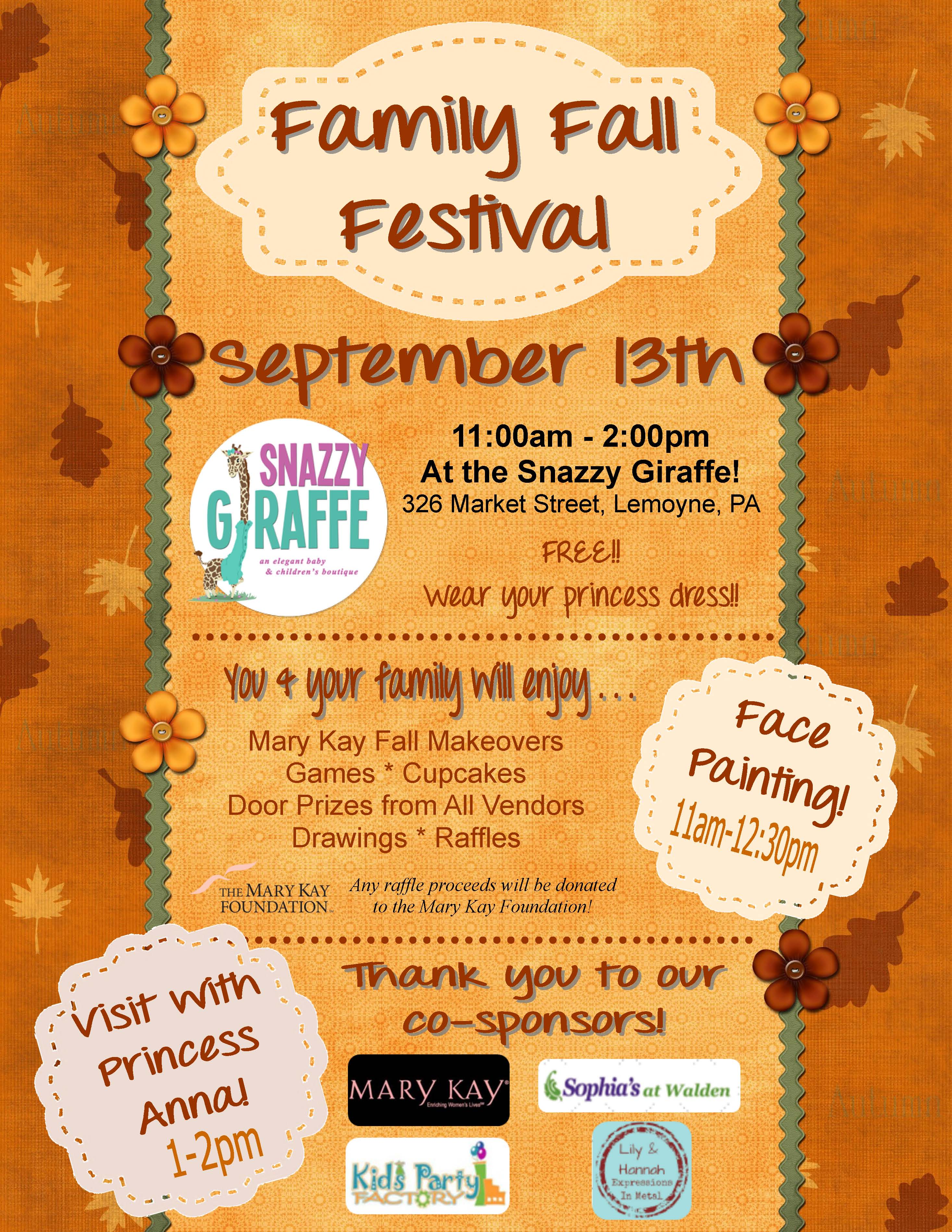 Family Fall Festival on Saturday, Sept. 13th!